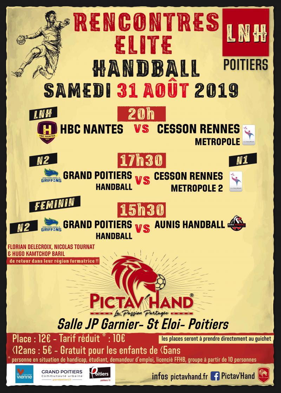 Rencontre Elite Pictav'hand 2019 le 31 août prochain à la salle JP Garnier de Siant Eloi