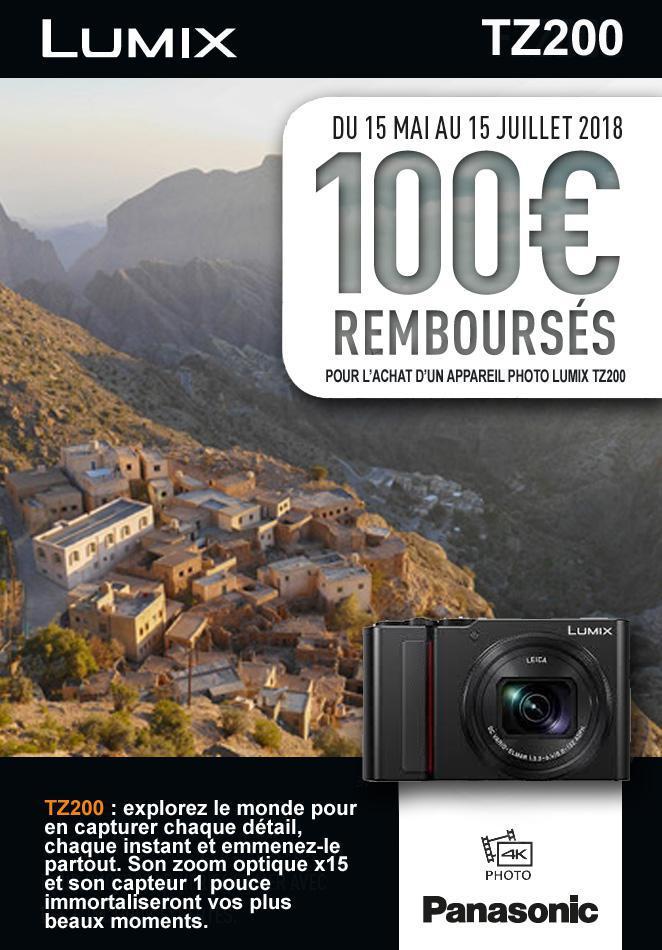 Panasonic vous rembourse 100€ sur le nouveau TZ200.