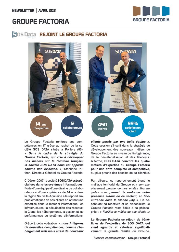 SOS DATA rejoint le groupe Factoria